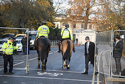 © Licensed to London News Pictures. 03/12/2019. London, UK. A heavy police presence at Winfield House in Regents Park, London, where President Donald Trump is staying during the NATO leaders summit. Worlds leaders are due to attend a series of events over a two day NATO summit which will mark the 70th anniversary of the alliance of nations. Photo credit: Ben Cawthra/LNP