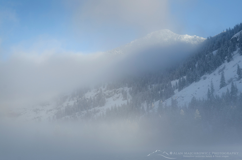 Foggy winter morning in the Methow Valley near Mazama, North Cascades Washington
