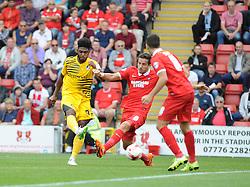 Ellis Harrison of Bristol Rovers gets a shot away - Mandatory byline: Neil Brookman/JMP - 07966386802 - 29/08/2015 - FOOTBALL - Matchroom Stadium -Leyton,England - Leyton Orient v Bristol Rovers - Sky Bet League Two