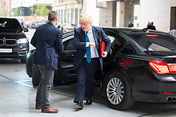 © Licensed to London News Pictures. 15/04/2018. London, UK. Foreign and Commonwealth Secretary Boris Johnson arriving at BBC Broadcasting House to appear on The Andrew Marr Show this morning. In the early hours of yesterday (Saturday) morning, British Prime Minister Theresa May ordered UK forces to join the US and France in targeted air strikes on a military base near Homs, Syria, believed to be a chemical weapons facility. Johnson is a supporter of the decision. Photo credit : Tom Nicholson/LNP