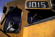 "= The driver and his machine  ; The train ""Chihuahua al Pacifico"" crossing the Sierra Madre  Mexico  /// Le conducteur du train au volant de la locomotive  le train Chihuahua Al Pacifico traverse la Sierra Madre Mexique +"