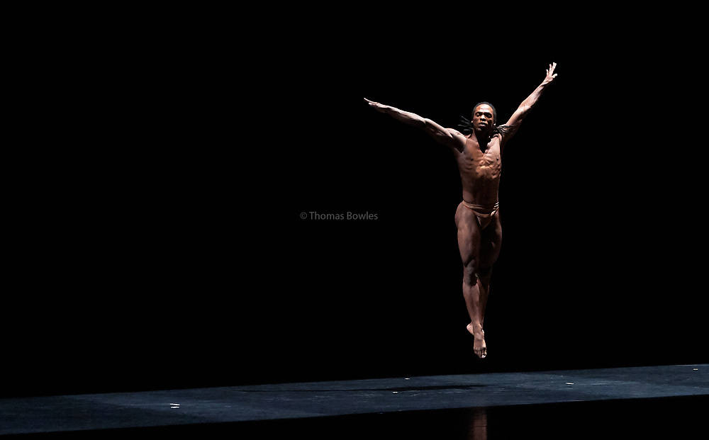 26th September 2017, London.Acosta Danza, the new dance company founded by  Carlos Acosta, UK premiere at Sadler's Wells. The piece shown is: &quot;El cruce sobre el Niagara&quot;, <br /> Performed by : Carlos Luis Blanco, Alejandro Silva.