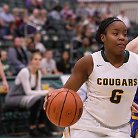 1st year guard Kyia Giles (6) of the Regina Cougars in action during the home opener  on November  4 at Centre for Kinesiology, Health and Sport. Credit: /Arthur Images