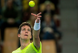 Aljaz Bedene of Slovenia playing singles during the Day 2 of Davis Cup 2018 Europe/Africa zone Group II between Slovenia and Poland, on February 4, 2018 in Arena Lukna, Maribor, Slovenia. Photo by Vid Ponikvar / Sportida