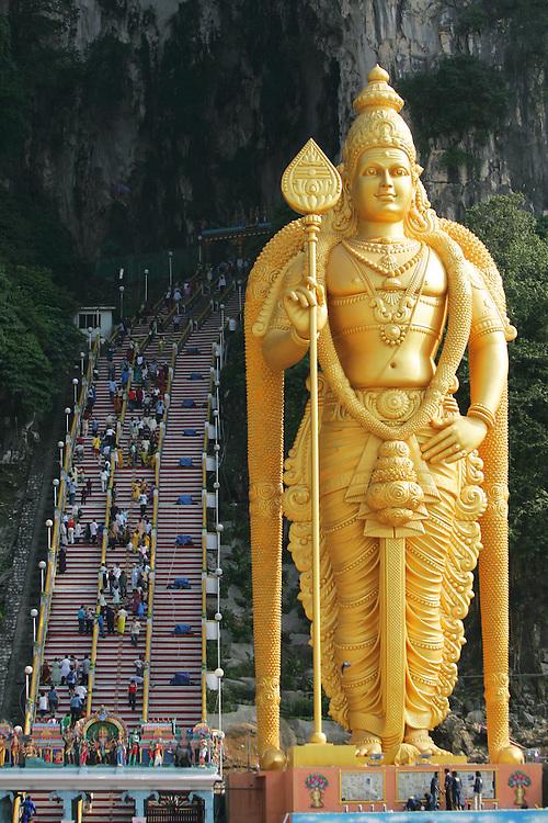 Golden colour Lord Murugan statue in Batu Caves, Malaysia