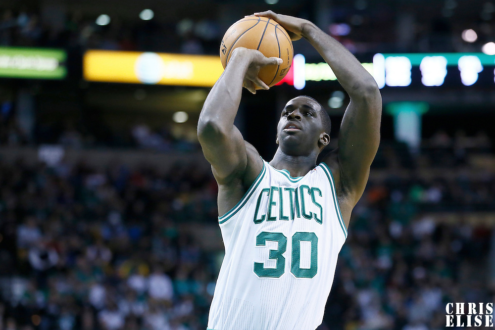 27 January 2013: Boston Celtics power forward Brandon Bass (30) is seen a the free throw line during the Boston Celtics 100-98  2OT victory over the Miami Heat at the TD Garden, Boston, Massachusetts, USA.