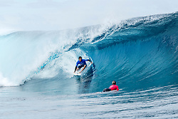 Aug 12, 2017 - Teahupo'o, French Polynesia, Tahiti - Kanoa Igarashi of the USA, current equal No.29 on the Jeep Leaderboard and fresh off of Qualifying Series event win advanced to Round Three of the Billabong Pro Tahiti after defeating Caio Ibelli of Brazil in Heat 8 of Round Two. (Credit Image: © Kelly Cestari/World Surf League via ZUMA Wire)