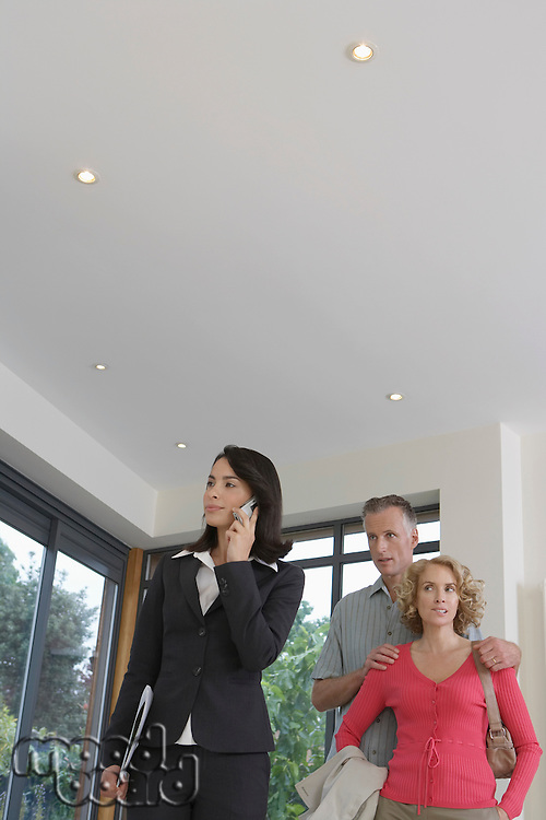 Real estate agent using mobile phone with couple observing new property