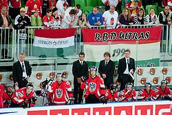 Bench of Austria during ice-hockey match between Hungary and Austria at IIHF World Championship DIV. I Group A Slovenia 2012, on April 19, 2012 at SRC Stozice, Ljubljana, Slovenia. (Photo By Matic Klansek Velej / Sportida.com)