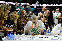 Competitive eater Molly Schuyler of Plumas Lake, CA, competes in Wing Bowl 26, at the Wells Fargo Center, in Philadelphia, PA, on February 2, 2018. The annual chicken wing eating contest is set two days before Super Bowl 52, where the Philadelphia Eagles will take on the New England Patriots.
