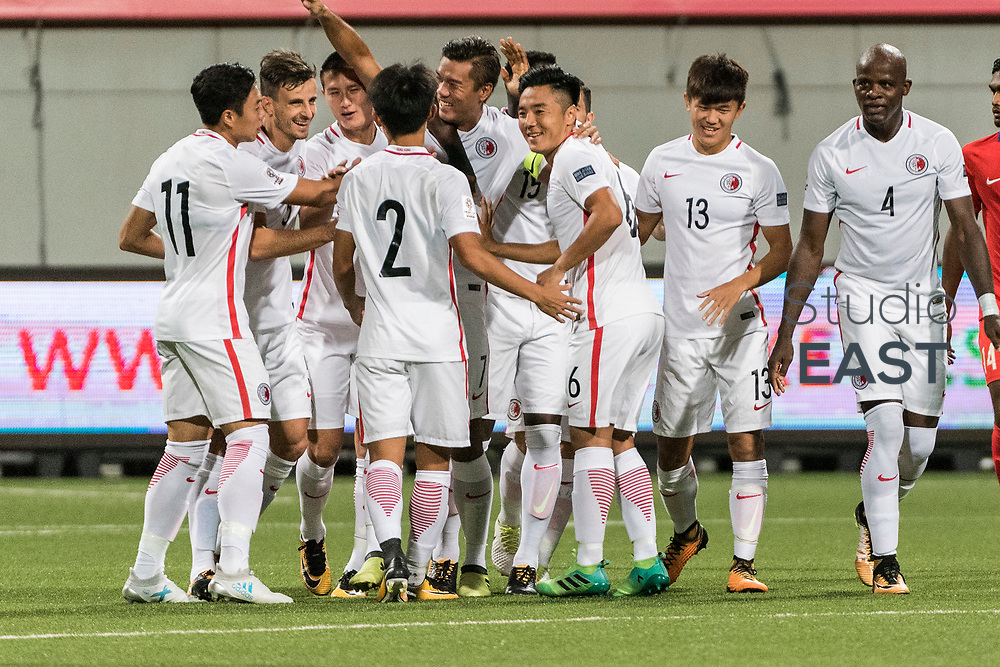 SINGAPORE, SINGAPORE - AUGUST 31: Hong Kong players celebrate scoring against Singapore during the international friendly match between Singapore and Hong Kong at the Jalan Besar Stadium on August 31, 2017, in Singapore, Singapore. (Photo by Getty Images)