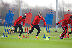 MANCHESTER, ENGLAND - Wednesday, March 16, 2016: Manchester United's Ashley Young, and Bastian Schweinsteiger during a training session at Carrington Training Ground ahead of the UEFA Europa League Round of 16 2nd Leg match against Liverpool. (Pic by David Rawcliffe/Propaganda)