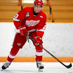 AURORA, ON - Jan 29 : Ontario Junior Hockey League Game Action between the Hamilton Red Wings and the Aurora Tigers, Niko Porikos #23 of the Hamilton Red Wings Hockey Club during the pre-game warm-up.<br /> (Photo by Brian Watts / OJHL Images)