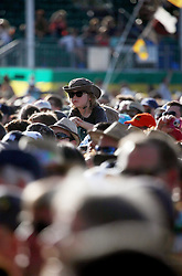 27 April 2012. New Orleans, Louisiana,  USA. .New Orleans Jazz and Heritage Festival. .A youngster in the crowd enjoys the Beach Boys as they  kick off their 50th anniversary tour. .Photo; Charlie Varley.
