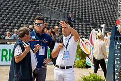 Alvarez Moya Sergio, ESP, Alvarez Julio, ESP, Simon Hugo<br /> Rotterdam - Europameisterschaft Dressur, Springen und Para-Dressur 2019<br /> Parcoursbesichtigung<br /> Longines FEI Jumping European Championship - 1st part - speed competition against the clock<br /> 1. Runde Zeitspringen<br /> 21. August 2019<br /> © www.sportfotos-lafrentz.de/Dirk Caremans