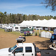 Tent stables at the Red Hills International Horse Trials in Tallahassee, Florida.