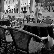 Piazza Sordello Cafe, Mantua, Italy. A series of captures from a personal trip to the cities of Milan and Mantua, featuring explorations of Renaissance architecture and the vibrant life of Italian streets.