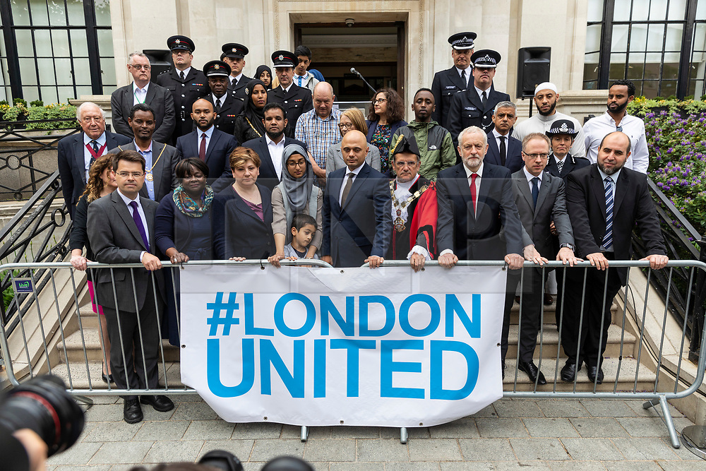 © Licensed to London News Pictures. 19/06/2018. London, UK.  Politicians, councillors, local faith and community leaders, and emergency services workers hold a minute's silence on the steps of Islington Town Hall to mark the first anniversary of the Finsbury Park Attack. Photo credit: Rob Pinney/LNP