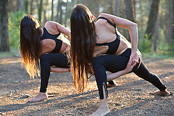 Women Practicing Yoga in a Forest, Extended side angle Pose