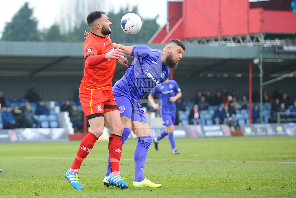 TELFORD COPYRIGHT MIKE SHERIDAN Shane Sutton of Telford battles for a header with Conor Branston of Alfreton during the Vanarama Conference North fixture between AFC Telford United and Alfreton Town at The Impact Arena on Wednesday, January 1, 2020.<br /> <br /> Picture credit: Mike Sheridan/Ultrapress<br /> <br /> MS201920-038