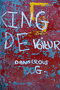 Mauritius. 'Dangerous Dog' gate to home. Port Louis.