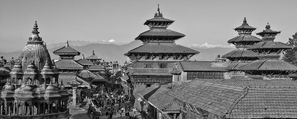 Nepal, Patan Durbar Square and the Himalayas behind, Helambu