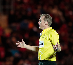 Referee Wayne Barnes <br /> <br /> Photographer Simon King/Replay Images<br /> <br /> European Rugby Champions Cup Round 6 - Scarlets v Toulon - Saturday 20th January 2018 - Parc Y Scarlets - Llanelli<br /> <br /> World Copyright © Replay Images . All rights reserved. info@replayimages.co.uk - http://replayimages.co.uk