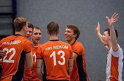28-08-2016 NED: Nederland - Slowakije, Nieuwegein<br /> Het Nederlands team heeft de oefencampagne tegen Slowakije met een derde overwinning op rij afgesloten. In een uitverkocht Sportcomplex Merwestein won Nederland met 3-0 van Slowakije / Just Dronkers #19, Wessel Keemink #2