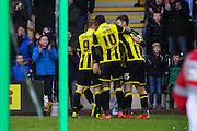 Celebrations as Burton Albion midfielder Tom Naylor scores Burton's second goal during the Sky Bet League 1 match between Burton Albion and Bradford City at the Pirelli Stadium, Burton upon Trent, England on 6 February 2016. Photo by Aaron Lupton.