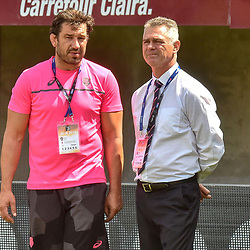 Robert Mohr Sports Director and Heyneke Meyer Head Coach of Paris during Top 14 match between Perpignan and Stade Francais on August 25, 2018 in Perpignan, France. (Photo by Alexandre Dimou/Icon Sport)
