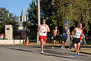 3 OCT. 2010 -- ST. CHARLES, Mo. -- Runners turn the corner at Clark and Second Streets in historic St. Charles while competing in the Lewis & Clark Marathon and Half-Marathon in St. Charles, Mo. Sunday Oct. 3, 2010. Image © copyright 2010 Sid Hastings.