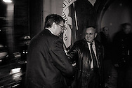 ITALY, Fondi: Raffaele Cantone (L) a former judge in the anti-mafia division of the Naples courts shakes hands with Bruno Fiore (R) former local coordinator of PD party in Fondi before a meeting on legality in Fondi on February 5, 2010. .©Christian Minelli