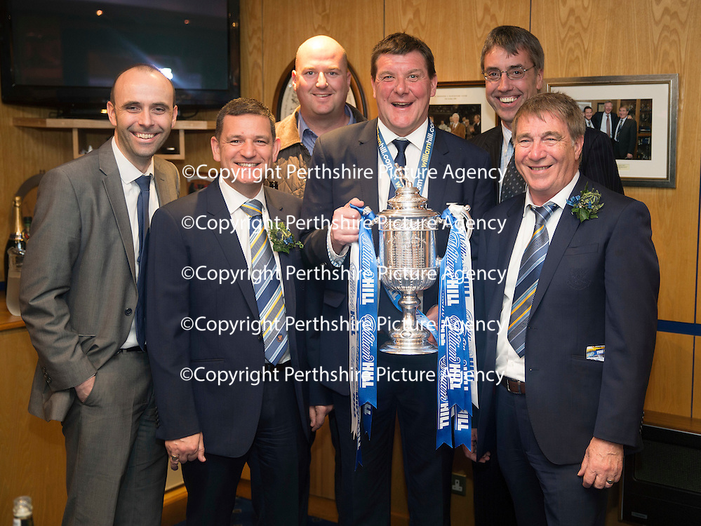 St Johnstone v Dundee United....17.05.14   William Hill Scottish Cup Final<br /> Pictured from left, Eric Nicolson, Steve Brown, Robert Thomson, Tommy Wright, Gordon Bannerman and Geoff Brown with the Scottish Cup<br /> Picture by Graeme Hart.<br /> Copyright Perthshire Picture Agency<br /> Tel: 01738 623350  Mobile: 07990 594431