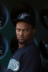 June 29, 2011; Oakland, CA, USA; Florida Marlins left fielder Emilio Bonifacio (1) stands in the dugout before the game against the Oakland Athletics at the O.co Coliseum.  Florida defeated Oakland 3-0.