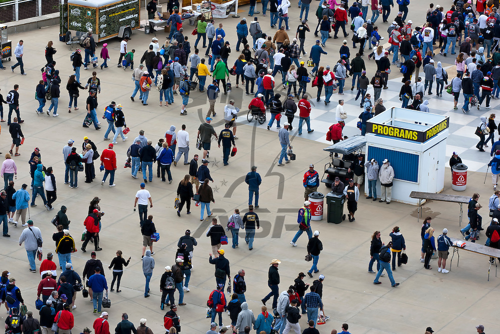 KANSAS CITY, KS - APR 22, 2012:  Fans depart the track after the STP 400 at the Kansas Speedway in Kansas City, KS.