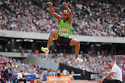 Zarck Visser of South Africa in the Long Jump during the Sainsbury's Anniversary Games at the Queen Elizabeth II Olympic Park, London, United Kingdom on 25 July 2015. Photo by Phil Duncan.