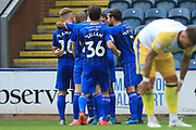GOAL Hat-trick Ian Henderson celebrates his and Rochdale's third goal  3-0 during the EFL Sky Bet League 1 match between Rochdale and Gillingham at Spotland, Rochdale, England on 15 September 2018.