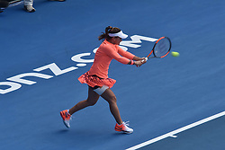 January 7, 2017 - Auckland, Auckland, New Zealand - Lauren Davis of USA plays a backhand during her single final match against Ana Konjuh of Croatia at the WTA ASB Classic tennis tournament in Auckland, New Zealand on Jan 7. She claims the champion title after a 6-3 6-1 victory over Ana Konjuh. (Credit Image: © Shirley Kwok/Pacific Press via ZUMA Wire)