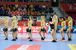 Cheerleaders during handball match between National teams of Germany and Denmark on Day 4 in Main Round of Men's EHF EURO 2018, on January 21, 2018 in Arena Varazdin, Varazdin, Croatia. Photo by Mario Horvat / Sportida