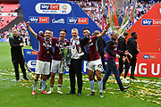 Aston Villa celebrate winning the championship play off and are promoted during the EFL Sky Bet Championship play off final match between Aston Villa and Derby County at Wembley Stadium, London, England on 27 May 2019.