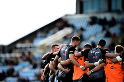Exeter Chiefs huddle prior to kick off  - Mandatory by-line: Ryan Hiscott/JMP - 19/10/2019 - RUGBY - Sandy Park - Exeter, England - Exeter Chiefs v Harlequins - Gallagher Premiership Rugby