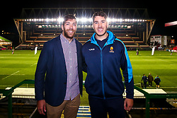 Andrew Kitchener of Worcester Warriors and Graham Kitchener of Leicester Tigers pose for a picture together after taking on each other in the Premiership Rugby Cup match between their sides - Mandatory by-line: Robbie Stephenson/JMP - 03/11/2018 - RUGBY - Welford Road Stadium - Leicester, England - Leicester Tigers v Worcester Warriors - Gallagher Premiership Rugby