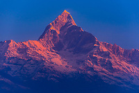 Fishtail, aka Machapuchare (6493 m; 21,302 ft), one of the peaks of the Annapurna Massif of the Himalayas, seen from Sarangkot, Nepal.