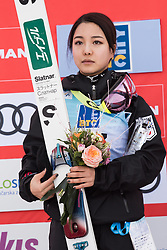 February 8, 2019 - Sara Takanashi of Japan on podium celebrates her second place at first competition day of the FIS Ski Jumping World Cup Ladies Ljubno on February 8, 2019 in Ljubno, Slovenia. (Credit Image: © Rok Rakun/Pacific Press via ZUMA Wire)