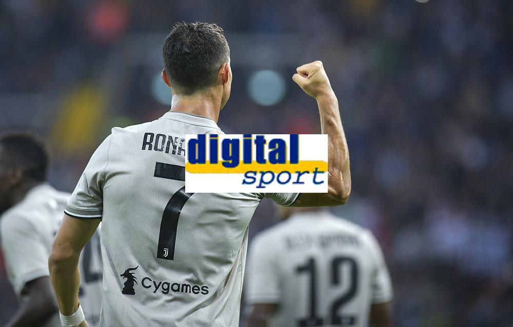 Cristiano Ronaldo esultanza gol. Cristiano Ronaldo celebrates scoring <br /> Udine 06-10-2018 Stadio Friuli Football Calcio Serie A 2018/2019 Udinese - Juventus<br /> Foto Federico Tardito / OnePlusNine / Insidefoto