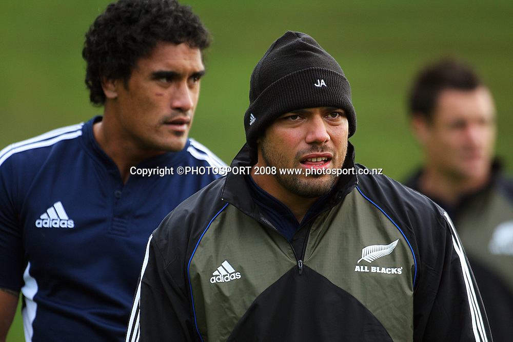 Jerome Kaino and John Afoa.<br /> All Blacks Training Session at Rugby League Park, Newtown, Wellington. Tuesday 3 June 2008. Photo: Dave Lintott/PHOTOSPORT
