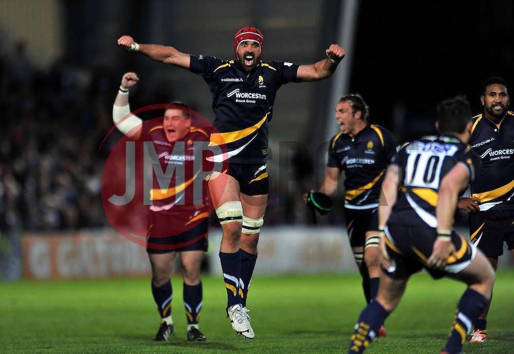 Jonathan Thomas of Worcester Warriors celebrates at the final whistle - Photo mandatory by-line: Patrick Khachfe/JMP - Mobile: 07966 386802 27/05/2015 - SPORT - RUGBY UNION - Worcester - Sixways Stadium - Worcester Warriors v Bristol Rugby - Greene King IPA Championship Play-off Final (Second leg)
