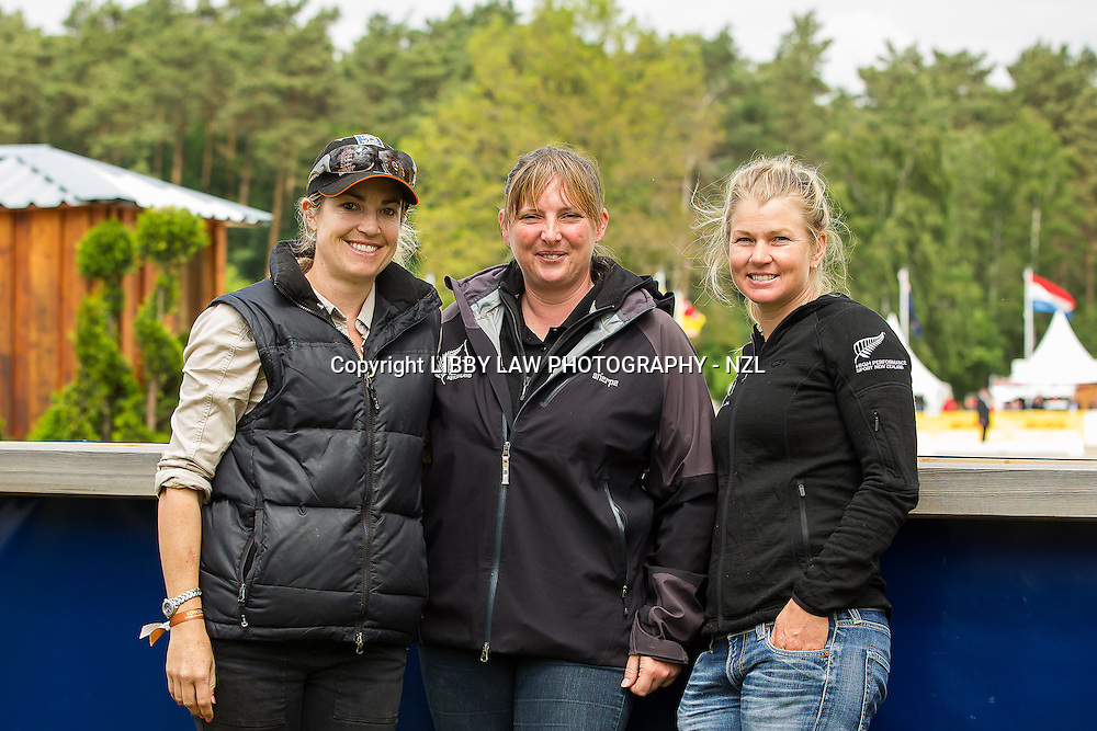 ESNZ ROCK-CHICKS: (L-R) Heelan Tompkins; Leigh Miller; Jonelle Richards: CCI4* Dressage: INTERIM-: 2013 GER-DHL Luhmühlen International Horse Trial (Friday 14 June) CREDIT: Libby Law  COPYRIGHT: LIBBY LAW PHOTOGRAPHY - NZL