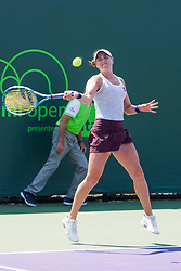March 20, 2018 - Key Biscayne, FL, U.S. - Key Biscayne, FL - MARCH 20: Rebecca Peterson (SWE) competes during the qualifying round of the 2018 Miami Open on March 20, 2018, at Tennis Center at Crandon Park in Key Biscayne, FL. (Photo by Aaron Gilbert/Icon Sportswire) (Credit Image: © Aaron Gilbert/Icon SMI via ZUMA Press)