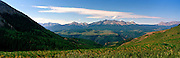Panoramic view of Mt. WIlson, Wilson Peak and El Diente Peak; San Juan National Forest; near Telluride, Colorado, USA; August 2010